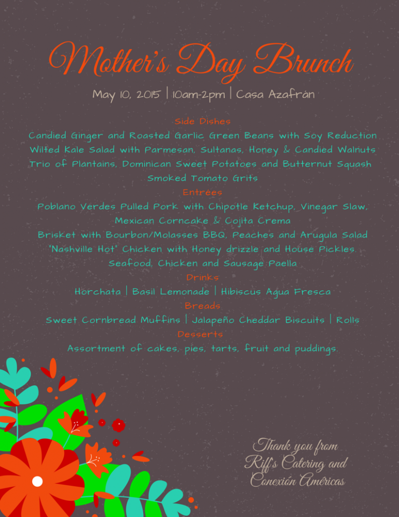 2015 mothers day menu
